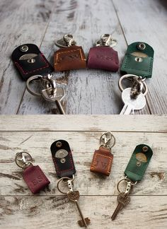 Custom leather keychain 3rd anniversary gift Coin holder keychain Leather key fob Leather key Coin keychain leather Personalized