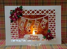 """I absolutely love making tent fold cards with added acetate and thought I'd share how I make them. I've used beautiful Dovecraft """"The M. Christmas Craft Fair, Christmas Card Crafts, Handmade Christmas, Christmas Stockings, Christmas Cards 2017, Xmas Cards, Acetate Cards, Card Sentiments, Fancy Fold Cards"""