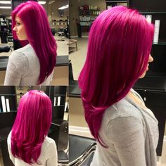My magenta hair and Pravana Vivids mix by Jacquelyn Marie Hastings at Bii Hair S. My magenta hair Bright Red Hair Dye, Dark Pink Hair, Vivid Hair Color, Hair Color Pink, Fuschia Hair, Violet Hair, Colorful Hair, Pink Purple, Turquoise Hair
