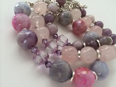 Stacking bracelets to be worn separately or together with the pink/ purple tones of rose quartz, agate, lilac stone and Swarovski crystals evoking the beauty of the purple haze flower  www.kkajoux.com  #handmade #irishcraft #agate #rosequartz #swarovski #kkajoux #purplehaze Purple Haze, Pink Purple, Lilac, Stacking Bracelets, Beaded Bracelets, Irish Design, Semi Precious Gemstones, Rose Quartz, Agate