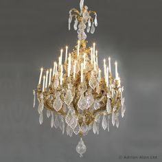 A Monumental Louis XV Style Gilt-Bronze and Cut-Glass Forty-Eight Light Chandelier - #adrianalan