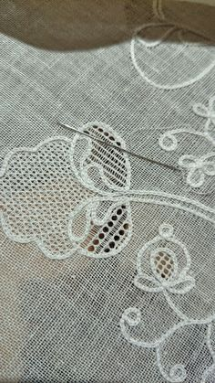 Am I staying up to watch the election results or am I staying up to work on my fichu? I'm almost done with the pulled work on the second part of the design and I'm on a roll! Tambour Embroidery, Hardanger Embroidery, Hand Embroidery Stitches, White Embroidery, Embroidery Patterns, Sewing Patterns, Cross Stitch Borders, Cross Stitch Rose, Bordado Popular