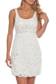 Sue Wong Embroidered Bodice Raw Edge Chiffon Bubble Dress in White - Beyond the Rack