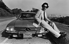 Actor, author, screenwriter and Richard Nixon political speech writer, Ben Stein, poses on the hood of his Mercede Benz SL during a 1980 Hollywood Hills, California,Photo by George Rose