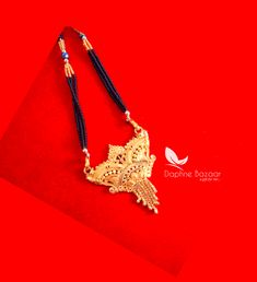 ME58, Daphne Handmade Golden Mangalsutra Necklace With Black Beads , Gift for Wife - Full View