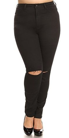 161b592ffed5 Featuring high rise knee sliced skinny basic women plus size easy to wear  with any tops