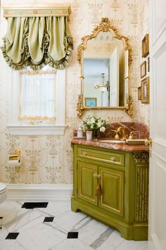 Fabulous Window Treatments - This is the mirror I want for my powder room. A bow on the top would make it perfect - I'm talking a brass bow that is an actual part of the mirror, not a bow you would put on a present. Pretty much perfect. Windows, Bathroom, Drapery Designs, Small Bathroom, Window Treatments, Window Coverings, Window Styles, Interior Decorating, Framed Bathroom Mirror