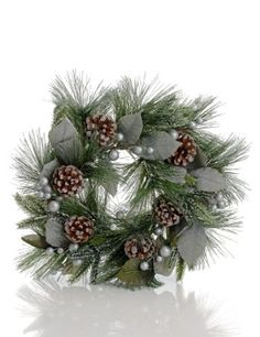 15 Pre-Lit LED Silver Berry & Pine Cone Wreath - Marks & Spencer