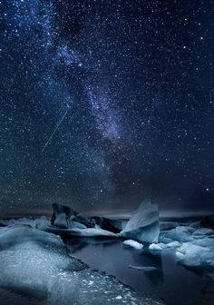 "Enjoy Iceland with us.is Milky way over the Glacier Lagoon, south coast of Iceland. Photo ""Glacier Lagoon Milky Way"" by Snorri Gunnarsson. Beautiful Sky, Beautiful World, Beautiful Places, Beautiful Pictures, Cosmos, To Infinity And Beyond, Jolie Photo, Nocturne, Stargazing"