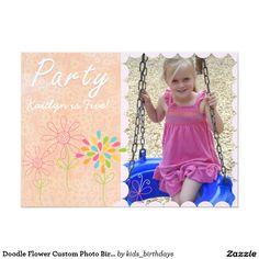 Doodle Flower Custom Photo Birthday Invitation