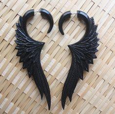 CELESTE Fake Gauge Earrings Hand Carved Black by SanskritDream