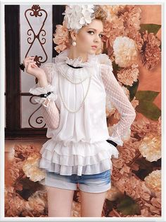 Morpheus Boutique  - White  Vintage Style Lace Ruffle Layer Long Sleeve Layer Shirt