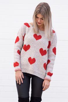 Chole Heart Knit Sweater - Grey