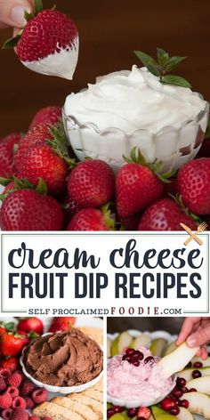 Cream Cheese Fruit Dip Recipes are tasty appetizers that are made of a few ingredients and take just minutes to prepare. Everyone loves an easy fruit dip! #fruitdip #creamcheese #recipes #roundup #easy #sweet #chocolate #cheesecake #pumpkin #peanutbutter #cranberry Homemade Desserts, Cookie Desserts, Kinds Of Desserts, Fun Desserts, Dip Recipes, Vegan Recipes, Snack Recipes, Dessert Recipes, Snacks