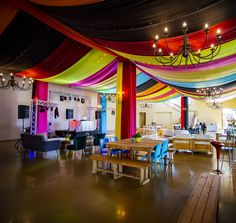 Lively colours for draping in ceiling and pillars for Mexican themed corporate party at Webersburg Wine Estate, Stellenbosch Draping, Corporate Events, Backdrops, Mexican, Ceiling, Colours, Wine, Party, Projects