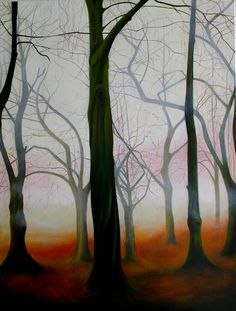 """Queen's Park, Transient Glow "", oil on deep edged canvas, 76cm x 101cm, 2012,"