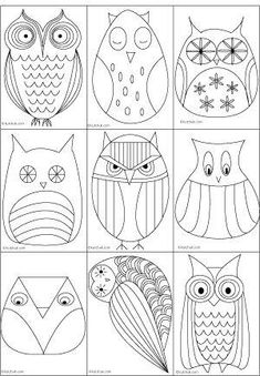 Great owl templates ideas for painted rocks/stonesGreat owl templates Look at the OWLS! I am collecting OWL patterns for use later.Owl coloring pages - Embroidery ideasCreative Owl Designs - Fun drawing ideas for elementary art lessons. Arts And Crafts, Paper Crafts, Diy Crafts, Owl Templates, Applique Templates, Applique Patterns, Owl Art, Art Plastique, Painted Rocks