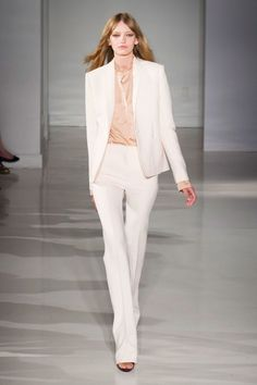 70d1f78ae61f From the Runway - spring   summer - business casual - office wear - work  outfit - ivory suit + champagne silk shirt - Jill Stuart SS 2015