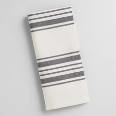 Perfect for everyday use, our classic cotton napkins feature black French-style stripes set against a natural background. Pair them with our coordinating tablecloth, table runner and placemats for a put-together look at a can't-miss price.