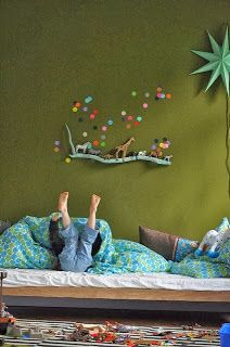 a painted stick acts as a tiny shelf for this little boy's safari animals to march on. Jojo's Room: On the Walls ...