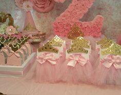 La corona Cupcakes Toppers color de rosa y por HeidiPartyCreations