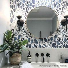 Bathroom decor for your master bathroom renovation. Discover bathroom organization, master bathroom decor ideas, bathroom tile tips, bathroom paint colors, and more. Bathroom Accent Wall, Bathroom Accents, Downstairs Bathroom, Wall Paper Bathroom, Funky Bathroom, Bathroom Accesories, Brown Bathroom, Powder Room Wallpaper, Navy Wallpaper