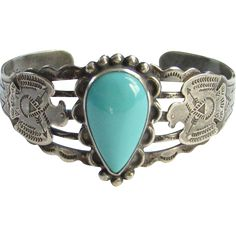 Vintage Native American Turquoise Thunderbird Cuff Bracelet Signed Sterling Native American