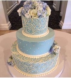 Classic Blue Scrolls and Pearls 3 tier wedding cake with Buttercream flowers