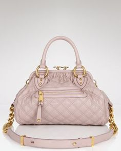 {marc jacobs quilted mini stam in grey rose & brass - on sale}