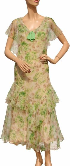 Dress: ca. 1930's, bias-cut floral printed silk chiffon, silk slip.