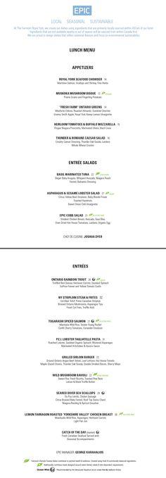 EPIC Restaurant Menu - Lunch