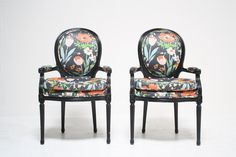 PAIR OF BLACK FRENCH CHAIRS WITH FLORAL FABRIC : Scout Design Studio