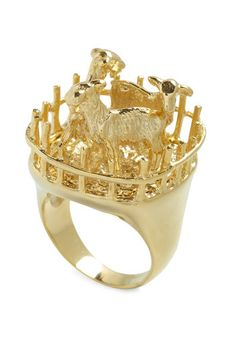 @Kristen Cooper I feel like you need this goats-in-a-pen ring for your jewelry collection.