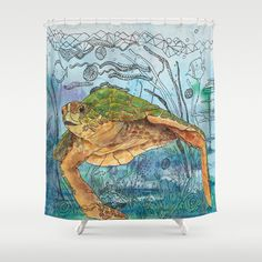 Artistic Shower Curtain - Shelley of the Blue Sea -  Watercolor Art, Sea Turtle, Surf, beach, surfer, blue, coastal decor, bathroom
