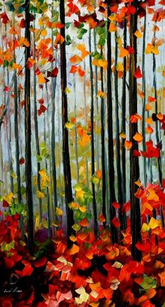 FALLING LEAFS IN THE FOREST - PALETTE KNIFE Oil Painting On Canvas By Leonid Afremov