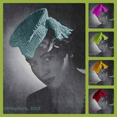 1940s Retro Fascinator Hat Pattern  - #Crochet Tassel Hat by KnittingGuru. Updated vintage pattern for contemporary crocheters.