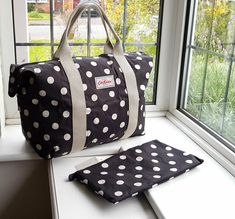 Attractive Black and white Cath Kidston Foldaway Overnight Bag - Button Spot - Brand New Cath Kidston Wallet, Cath Kidston Bags, Zip Wallet, Purse Wallet, Pouch, Retail Displays, Shop Displays, Merchandising Displays, Window Displays