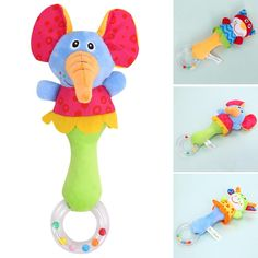Handbells Rattles Zoo Squeeze Me Rattle Cute Gift Baby Musical Developmental Toy