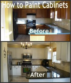 Parents of a Dozen: How to Paint Cabinets Love these improved kitchens and bathrooms.. great painting advice! If you are choosing colors for your kitchen or bathroom, check out the Color911 app for color inspiration.
