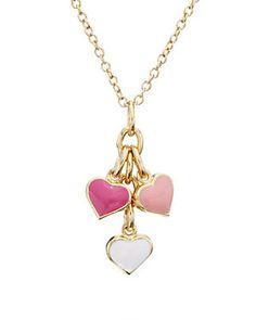 Little Miss Twin Stars 'I LOVE My Jewels' 14K Plated & Enamel Hearts Necklace