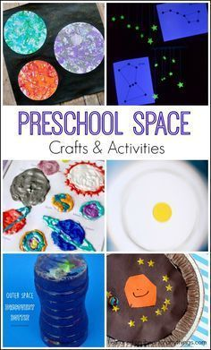 Space Crafts and Activities Preschool Space Crafts and Activities. Great for learning about outer space, the planets and constellations.Preschool Space Crafts and Activities. Great for learning about outer space, the planets and constellations. Space Preschool, Preschool Science Activities, Space Activities, Preschool Themes, Science For Kids, Preschool Activities, Planets Preschool, Science Space, Steam Activities