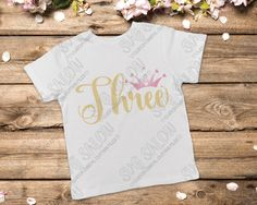 Three Year Old Birthday Heart Crown Cut File in SVG, EPS, DXF, JPEG, and PNG