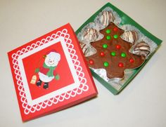 Hand crafted box with home-made fudge in a cookie cutter and oreo truffles