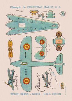 Paper airplane, vintage papercraft. Free to print