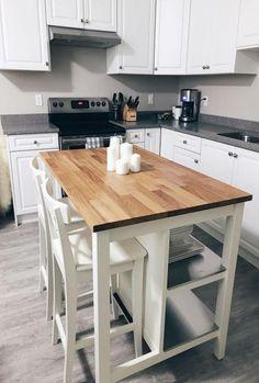 39 Super Ideas Diy Kitchen Island With Seating Ikea Cabinets Kitchen Cabinet Design, Small Kitchen Tables, Kitchen Design, Kitchen Island Design, Diy Kitchen Island, Kitchen Dining Room, Kitchen Layout, Ikea Kitchen Island, Country Kitchen