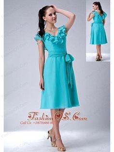 Popular Turquiose Blue Empire V-neck Bridesmaid Dress Chiffon Sash Tea-lengthHLEN1125T060fashionos.com