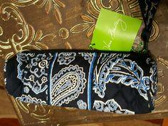 VERA BRADLEY Blue Bandana Roll Case  8 x 2 inches NEW with Tag #VeraBradley