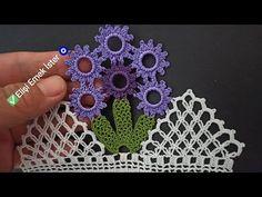 Tığ işi ile Yeni Tasarım Kolay Halkalı Çeyizlik Havlu Kenarı Modeli - YouTube Crochet Bedspread, Baby Knitting Patterns, Crochet Earrings, Panda, Floral, Youtube, Crochet Roses, Dish Towels, Survival Tips