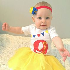 How adorable is this sweetie in our 9 month milestone bodysuit + coordinating headband?! #Etsy #LivAndCo #Handmade