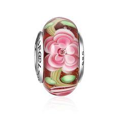Floraison Fleurs Perle Verre Murano Argent Massif 925
